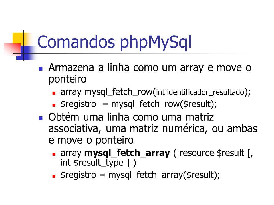 Comandos phpMySql Armazena a linha como um array e move o ponteiro