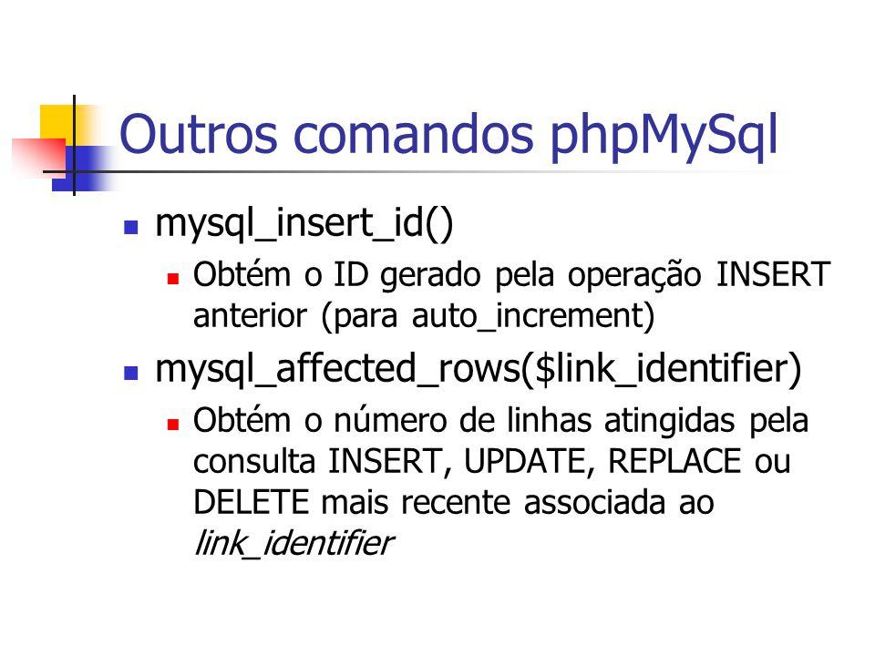 Outros comandos phpMySql