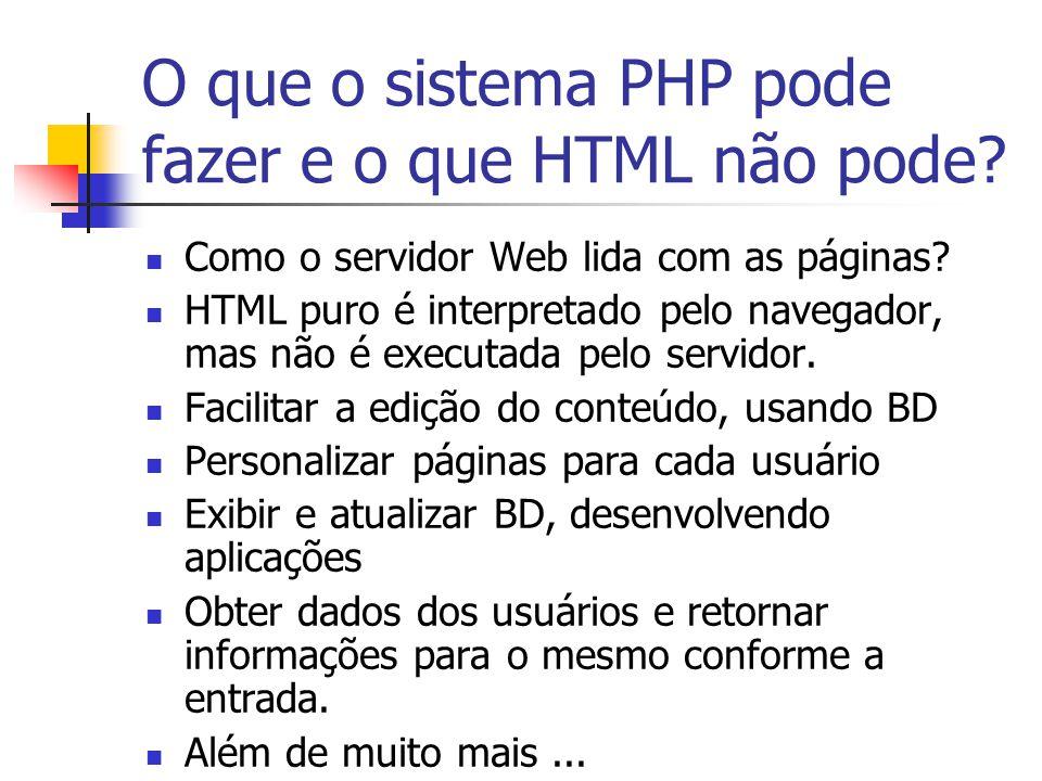 O que o sistema PHP pode fazer e o que HTML não pode