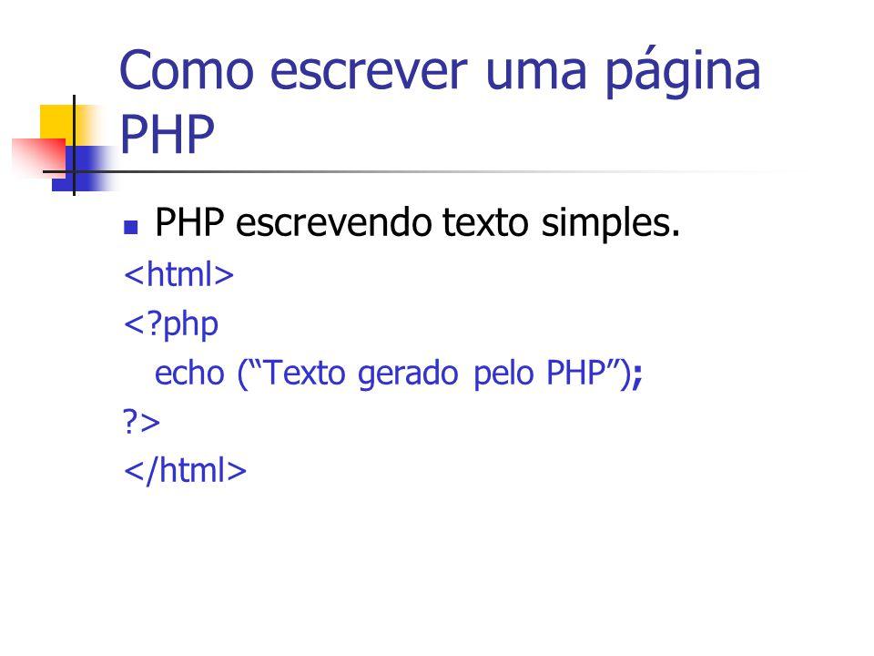 Como escrever uma página PHP