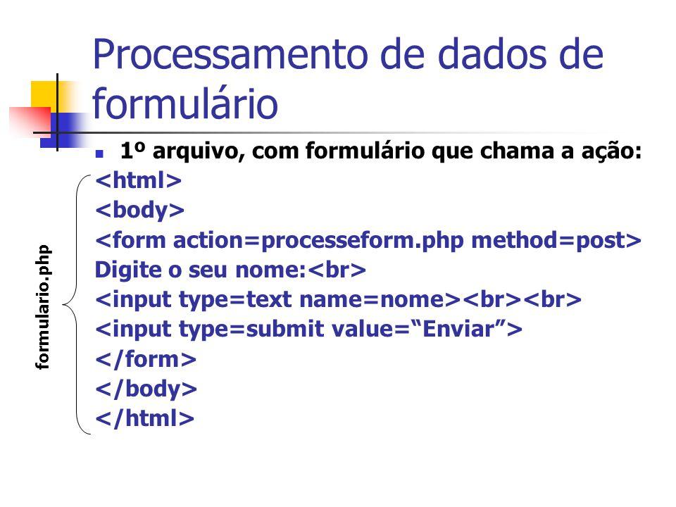 Processamento de dados de formulário