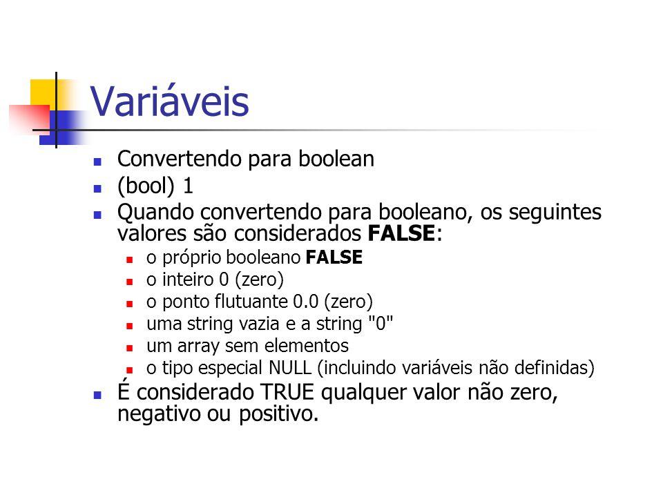 Variáveis Convertendo para boolean (bool) 1