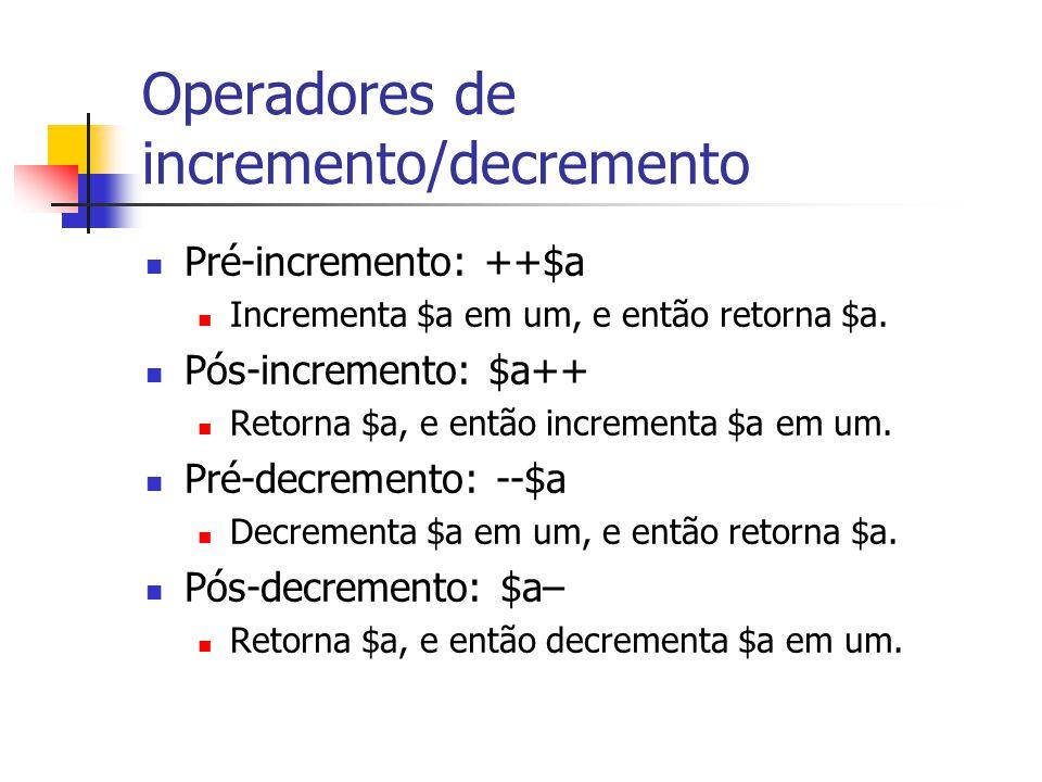 Operadores de incremento/decremento