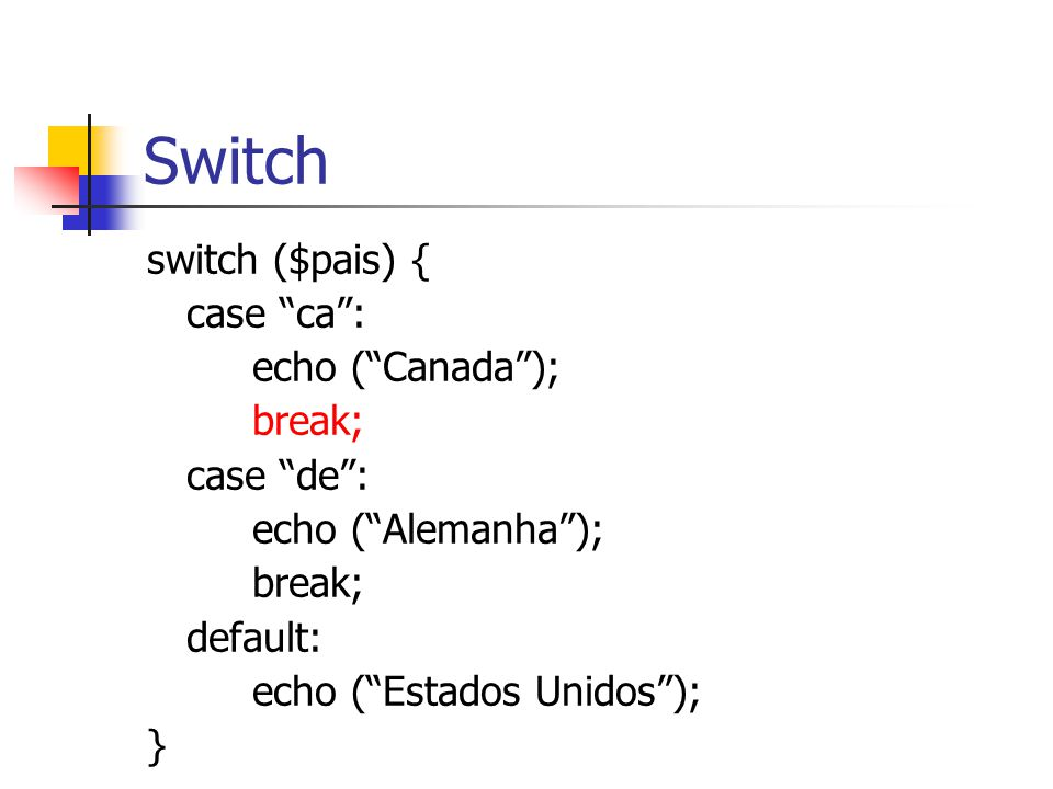 Switch switch ($pais) { case ca : echo ( Canada ); break; case de :