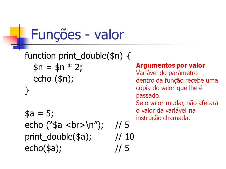 Funções - valor function print_double($n) { $n = $n * 2; echo ($n); }