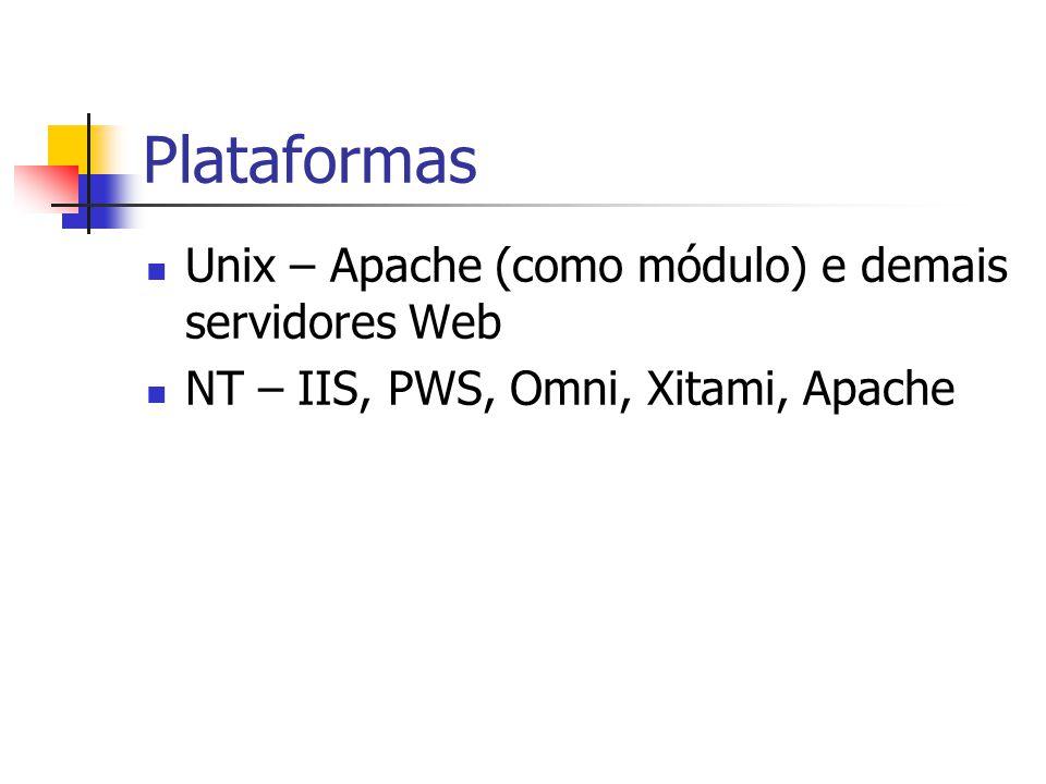 Plataformas Unix – Apache (como módulo) e demais servidores Web