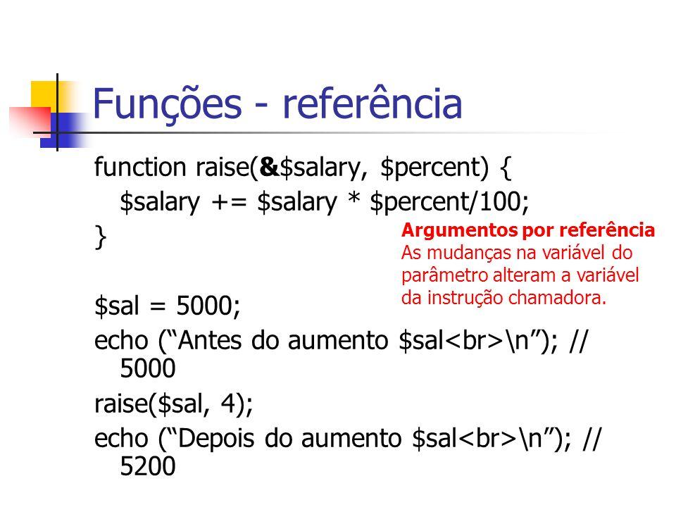 Funções - referência function raise(&$salary, $percent) {