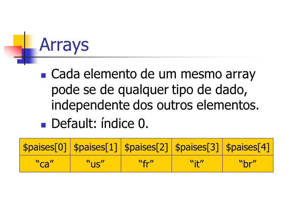 Arrays Cada elemento de um mesmo array pode se de qualquer tipo de dado, independente dos outros elementos.