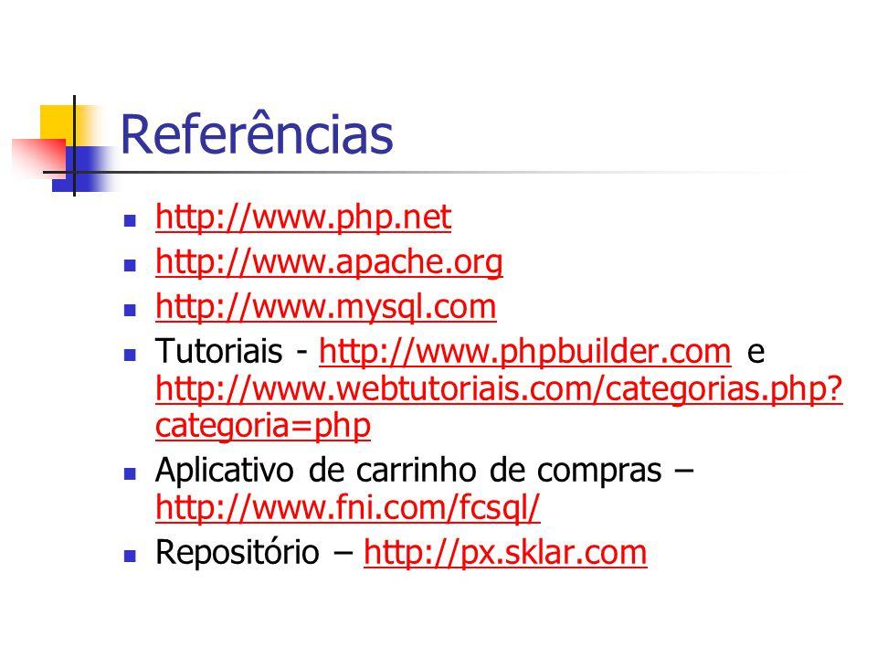 Referências http://www.php.net http://www.apache.org