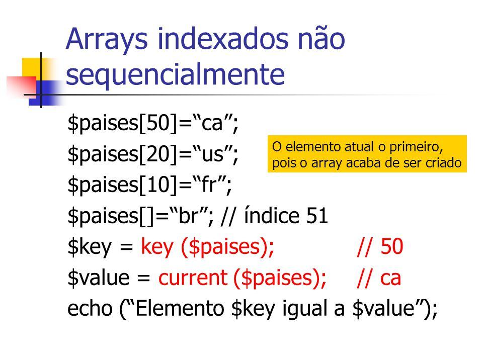 Arrays indexados não sequencialmente