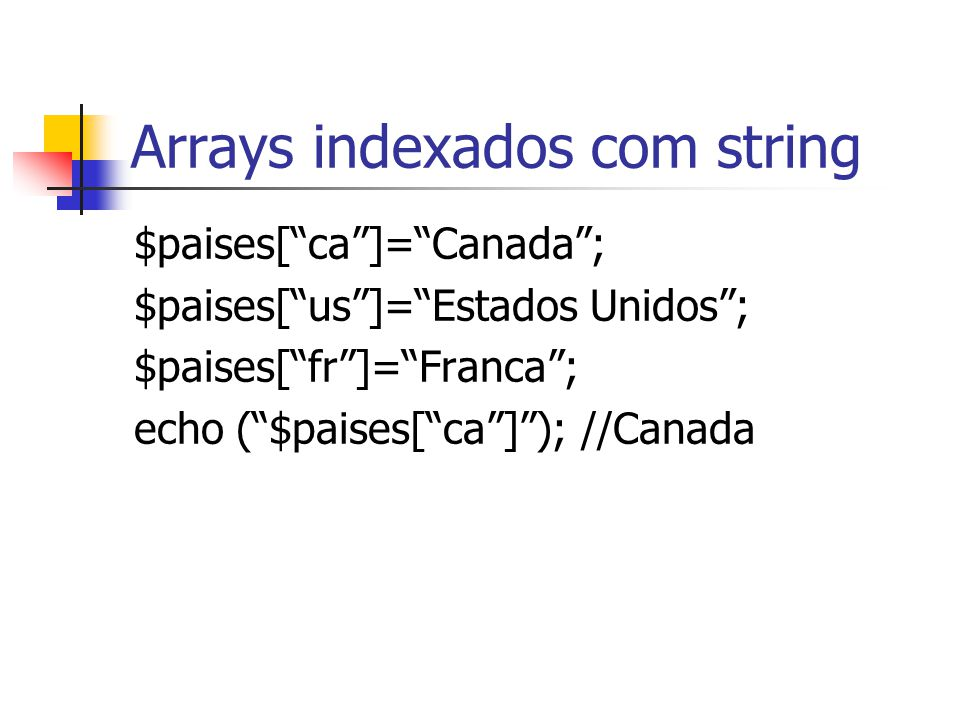 Arrays indexados com string