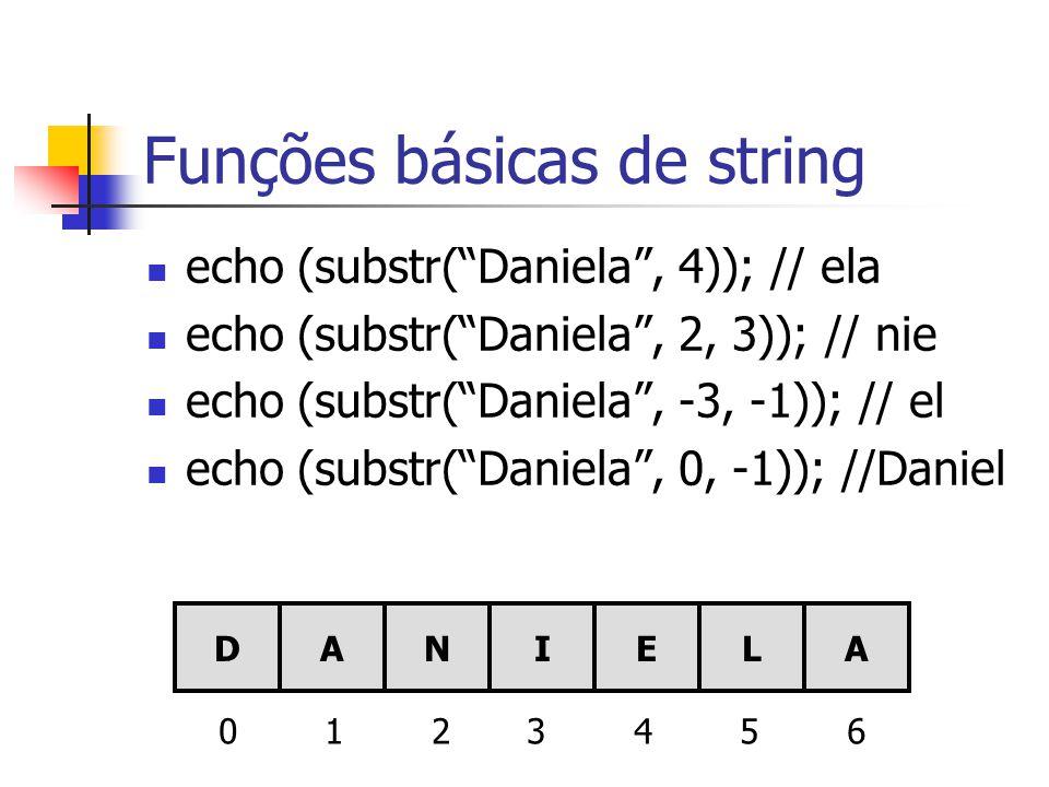 Funções básicas de string