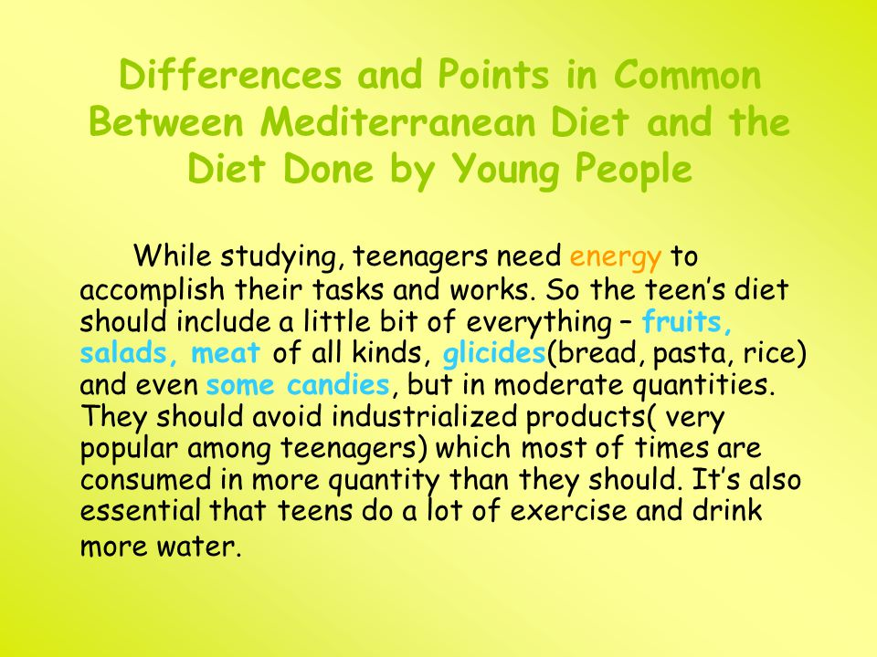 Differences and Points in Common Between Mediterranean Diet and the Diet Done by Young People