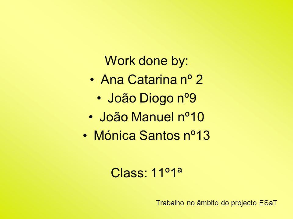 Work done by: Ana Catarina nº 2 João Diogo nº9 João Manuel nº10
