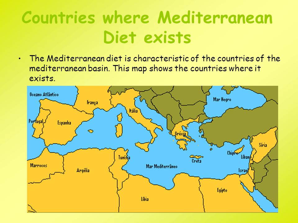 Countries where Mediterranean Diet exists