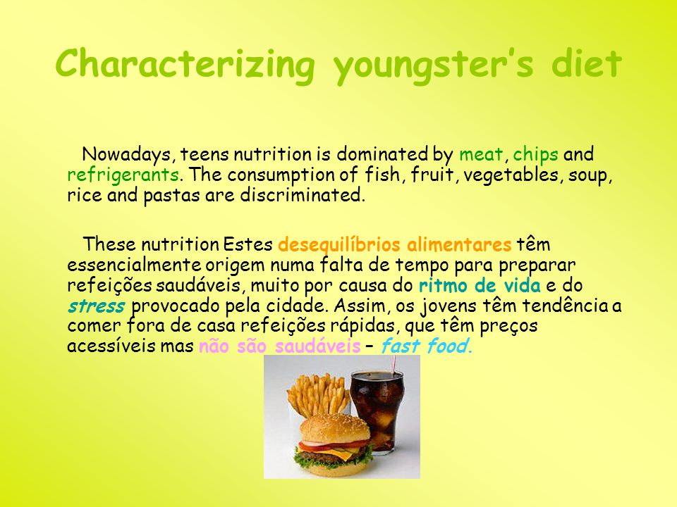 Characterizing youngster's diet