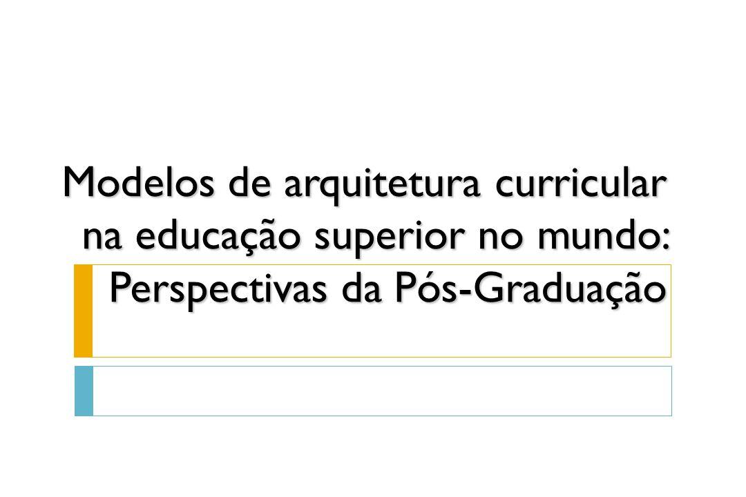Modelos de arquitetura curricular na educação superior no mundo: Perspectivas da Pós-Graduação