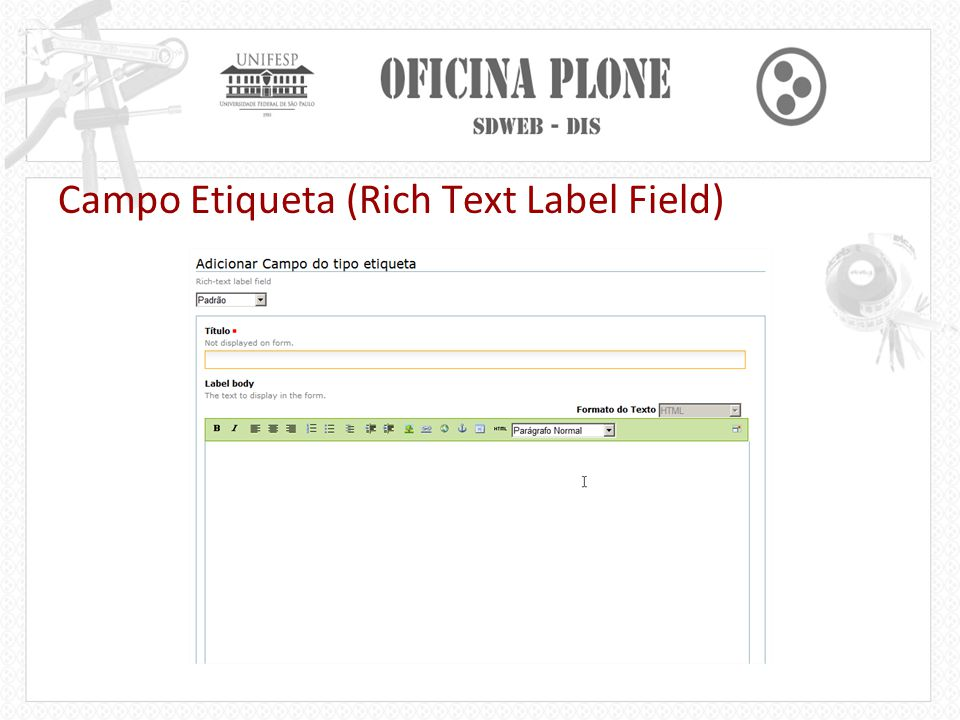 Campo Etiqueta (Rich Text Label Field)