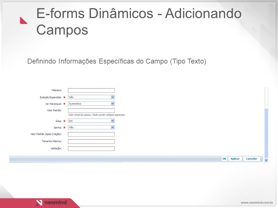 E-forms Dinâmicos - Adicionando Campos