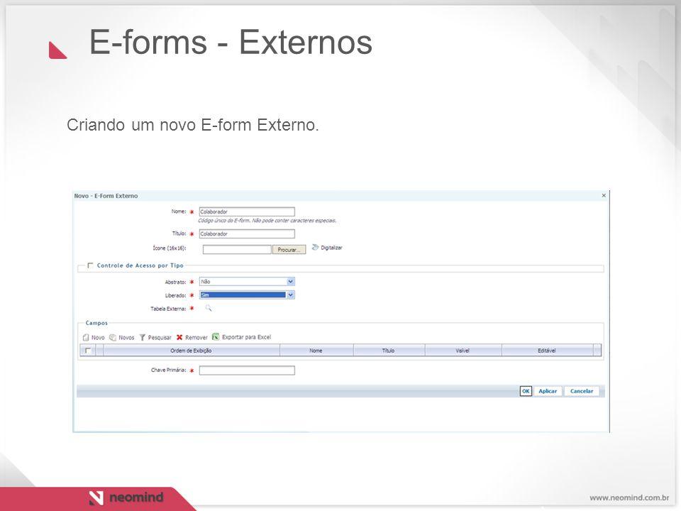 E-forms - Externos Criando um novo E-form Externo. 22