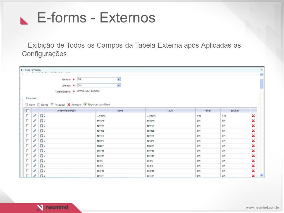 E-forms - Externos Exibição de Todos os Campos da Tabela Externa após Aplicadas as Configurações.