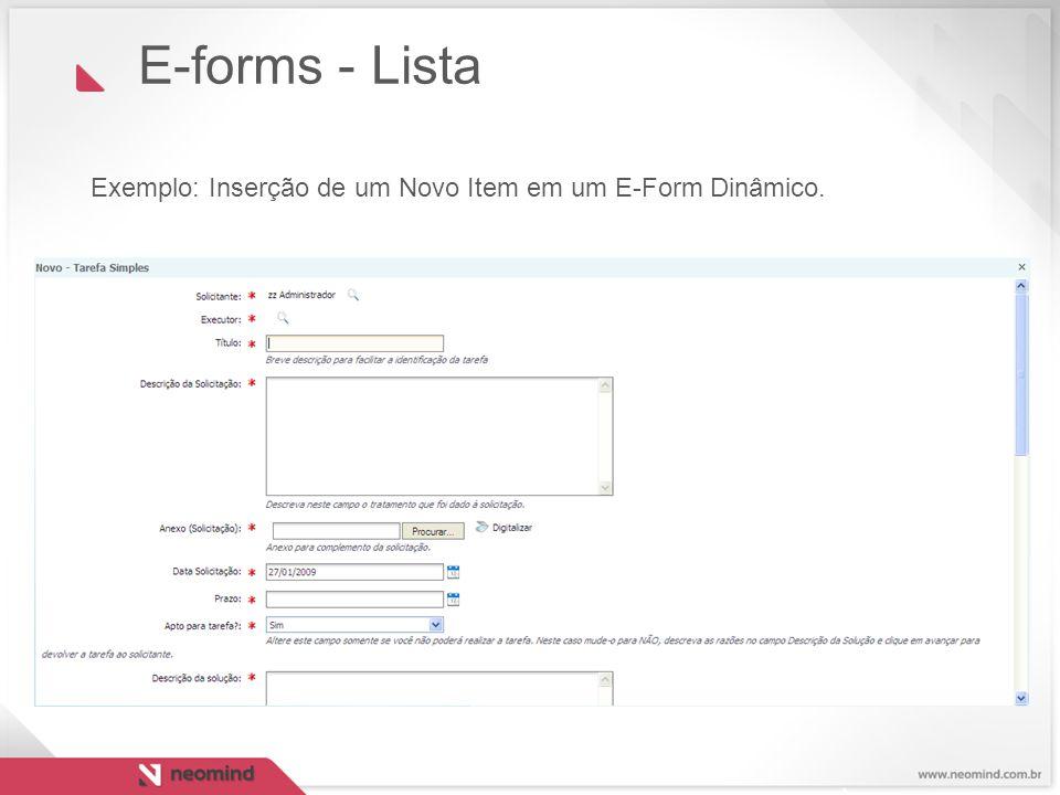 E-forms - Lista Exemplo: Inserção de um Novo Item em um E-Form Dinâmico. 27