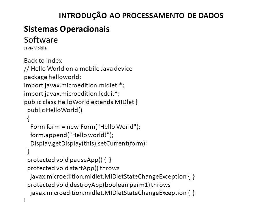 Sistemas Operacionais Software