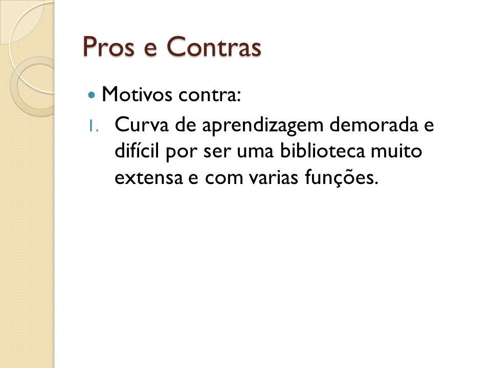 Pros e Contras Motivos contra: