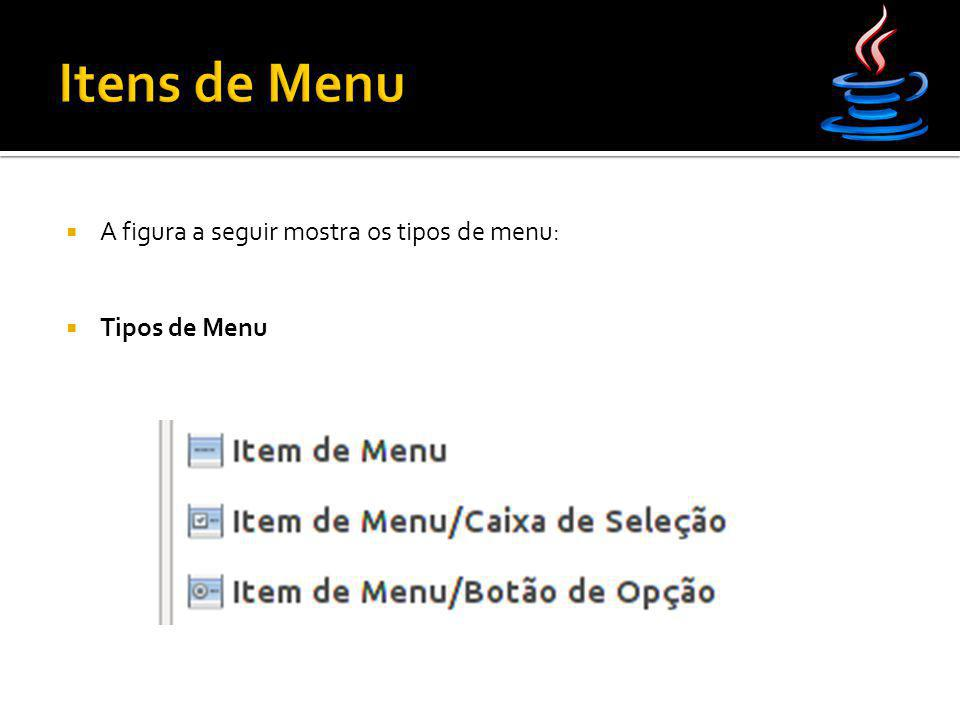 Itens de Menu A figura a seguir mostra os tipos de menu: Tipos de Menu