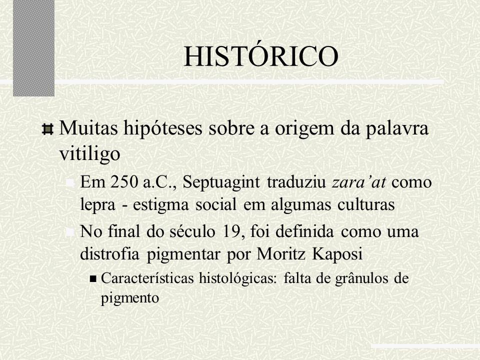 HISTÓRICO Muitas hipóteses sobre a origem da palavra vitiligo