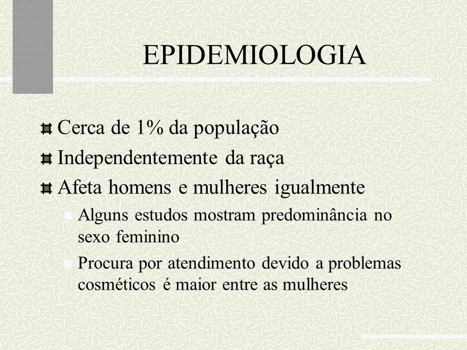 EPIDEMIOLOGIA Cerca de 1% da população Independentemente da raça