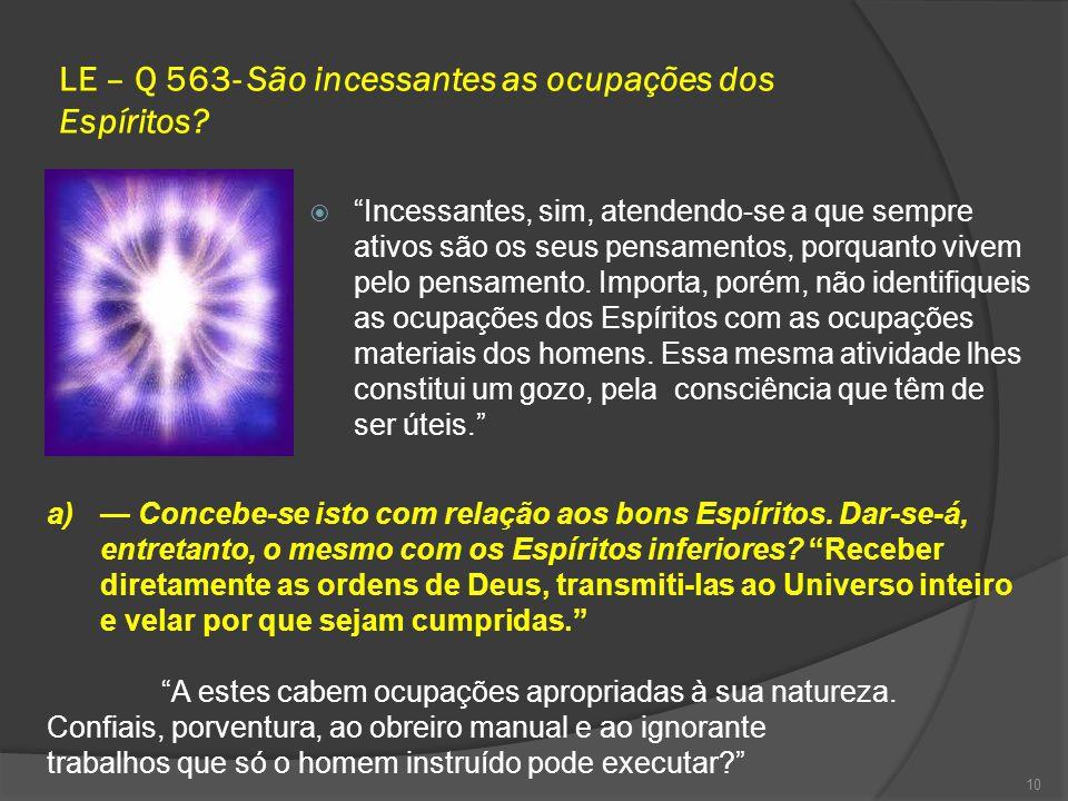LE – Q 563- São incessantes as ocupações dos Espíritos