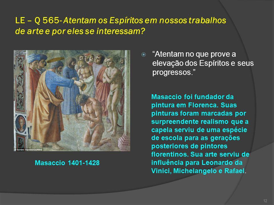 LE – Q 565- Atentam os Espíritos em nossos trabalhos de arte e por eles se interessam