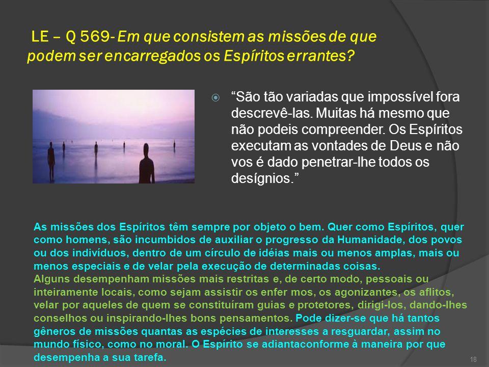 LE – Q 569- Em que consistem as missões de que podem ser encarregados os Espíritos errantes