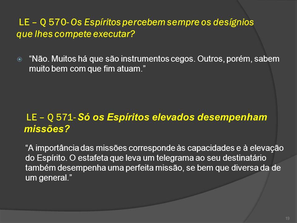 LE – Q 571- Só os Espíritos elevados desempenham missões