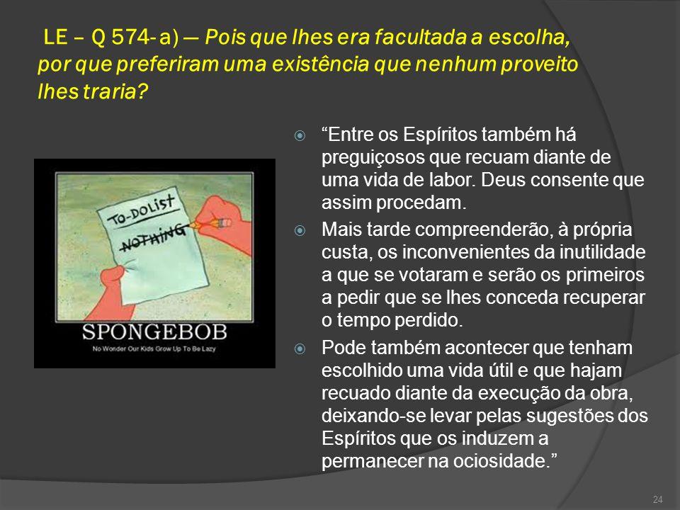 LE – Q 574- a) — Pois que lhes era facultada a escolha, por que preferiram uma existência que nenhum proveito lhes traria