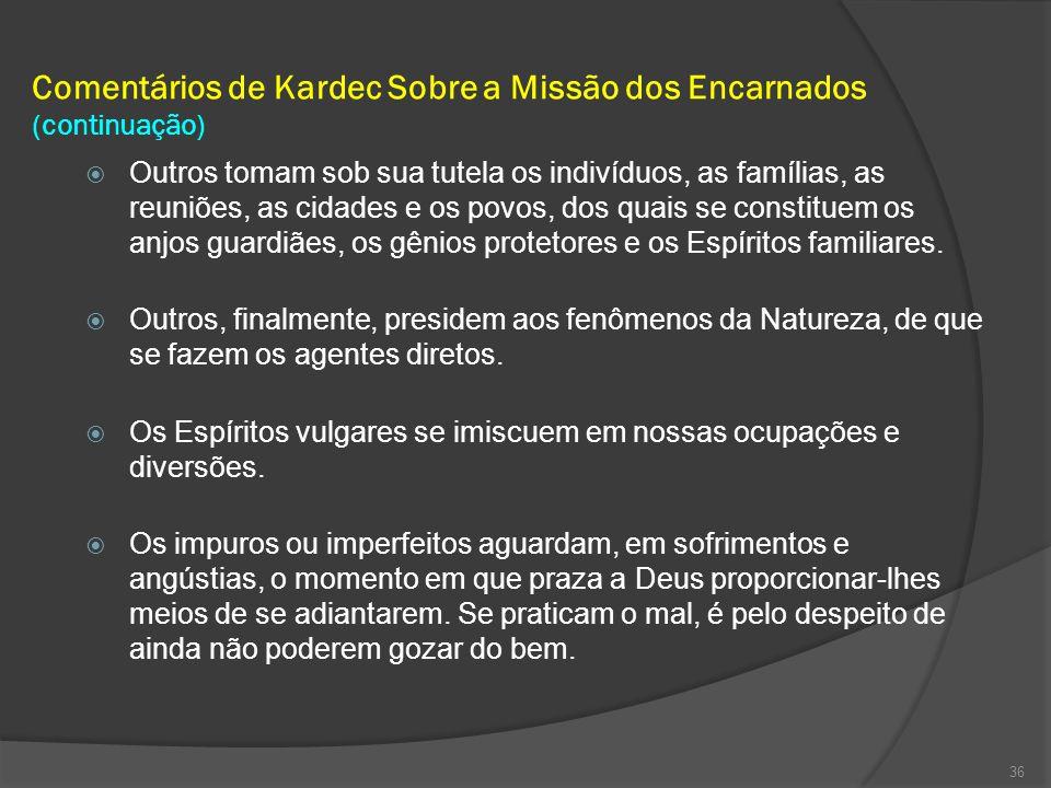 Comentários de Kardec Sobre a Missão dos Encarnados (continuação)