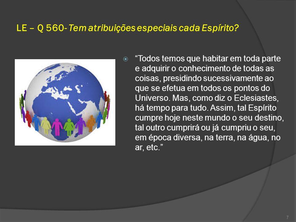 LE – Q 560- Tem atribuições especiais cada Espírito