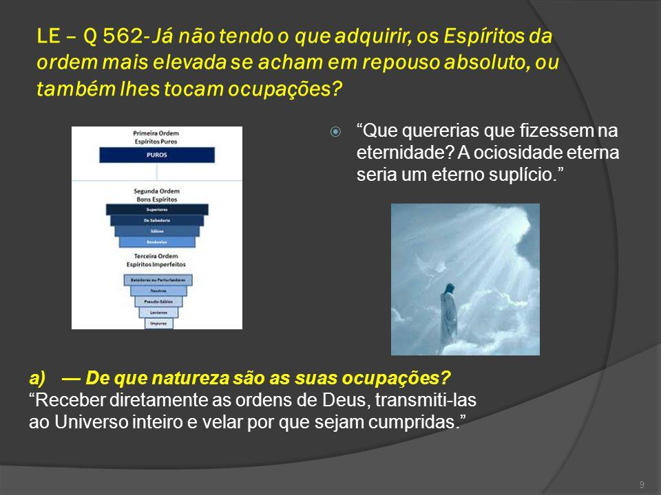 LE – Q 562- Já não tendo o que adquirir, os Espíritos da ordem mais elevada se acham em repouso absoluto, ou também lhes tocam ocupações