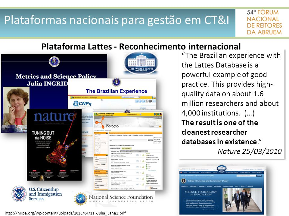 Plataforma Lattes - Reconhecimento internacional