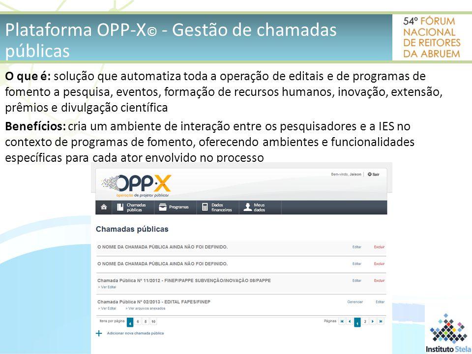Plataforma OPP-X© - Gestão de chamadas públicas