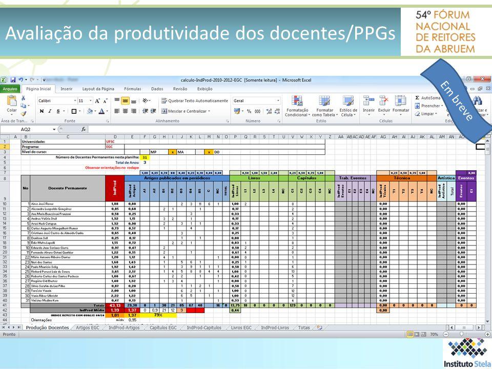 Avaliação da produtividade dos docentes/PPGs