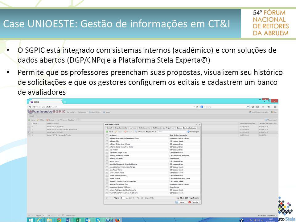 Case UNIOESTE: Gestão de informações em CT&I