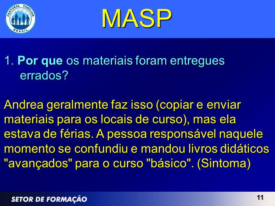 MASP 1. Por que os materiais foram entregues errados
