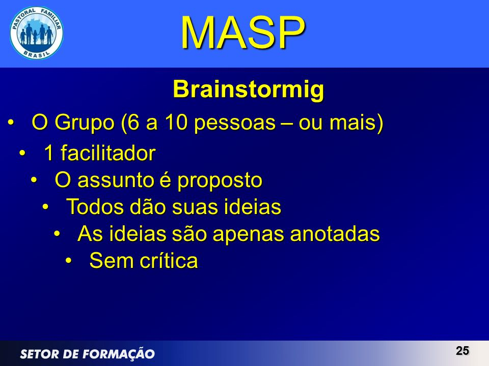 MASP Brainstormig O Grupo (6 a 10 pessoas – ou mais) 1 facilitador