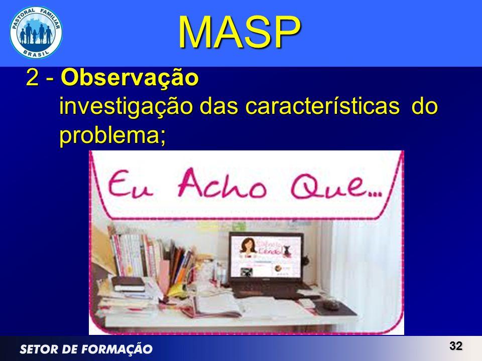MASP 2 - Observação investigação das características do problema; 32