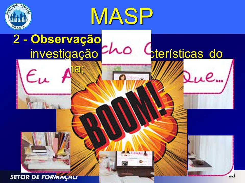 MASP 2 - Observação investigação das características do problema; 33