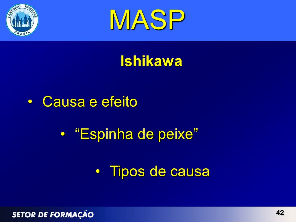 MASP Ishikawa Causa e efeito Espinha de peixe Tipos de causa 42