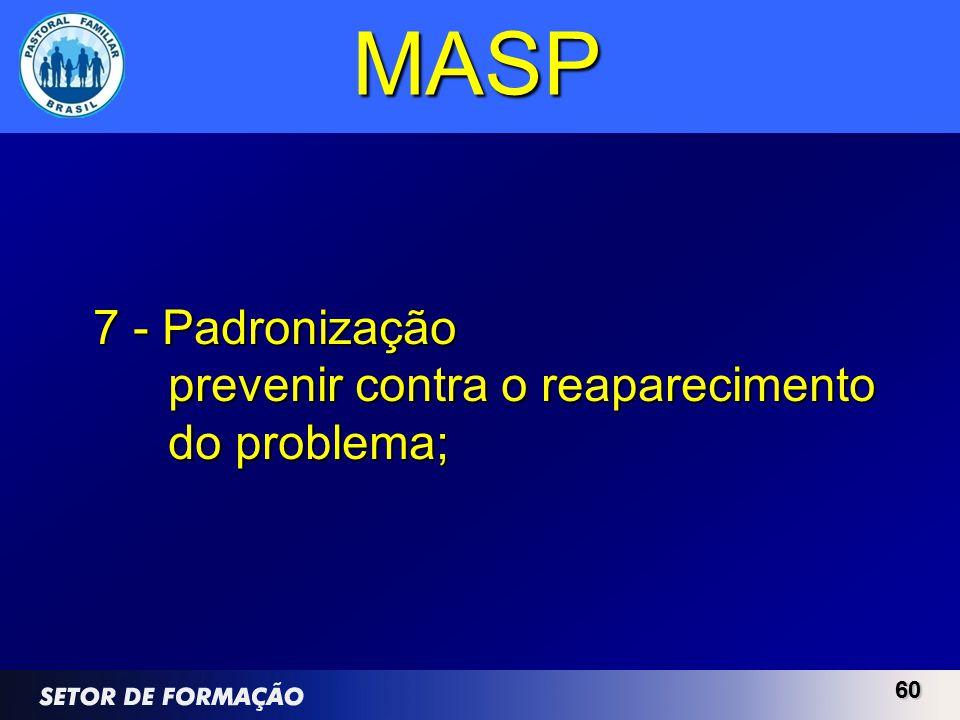 MASP 7 - Padronização prevenir contra o reaparecimento do problema; 60