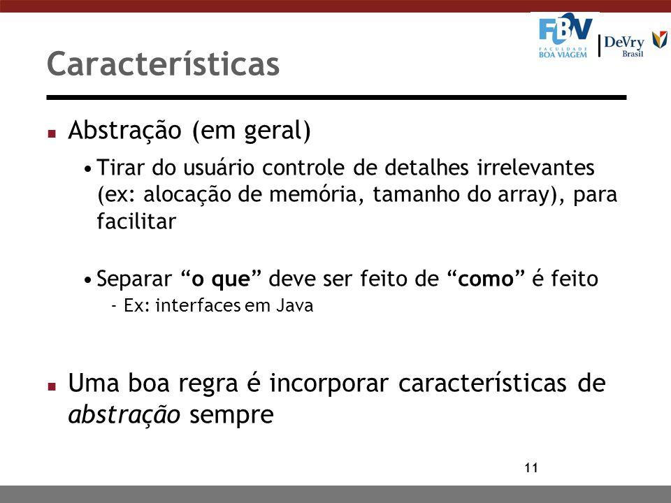 Características Abstração (em geral)